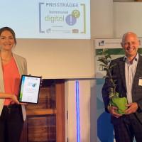 Bürgermeister Eric Leiderer mit Digitalministerin Judith Gerlach