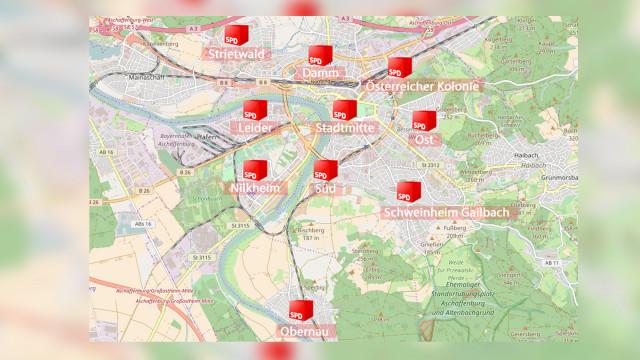 Landkarte Ortsvereine in Aschaffenburg